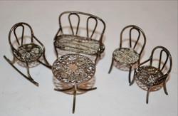 Ezüst miniatűr  babagarnitúra jelzett 6 darabos filigrán
