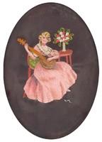 0U311 Régi keretezett selyemkép lány gitárral
