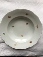 7 db antik Zsolnay pajzspecsétes virágos mély tányér az 1930 -as évekből