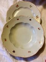 2 db barokk Zsolnay tollazott mély és lapos tányér lüsztermázas szegéllyel az 1930 -as évekből