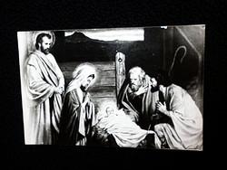 Jézus a jászolban a három királyokkal, képeslap.