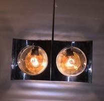 RETRO acél csillár színezett öntött üveg körlapokkal 2 DB eladó