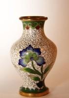 Tűzzománc vázácska virág díszítésekkel