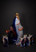 Retro halas szovjet porcelán italos készlet, 7 db-os