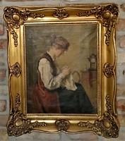 Krusnyák Károly: Hímző lány, 1922