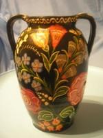 N7 Antik csodás igen élénk színvilágú váza ritkaság 24 x 16 cm