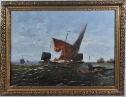 "Hans Wagner (1866-1940): Tengeri látkép, ""P. Cerneri"" jelz."
