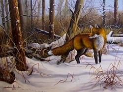 Róka vadászat közben 30X40cm olaj-vászon festmény
