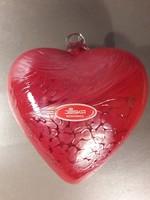 Vastag üveg kristály szív jelzett függeszthető karácsonyfa dísz lakás dísz