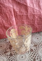 Aranyos bronzos cirádás ünnepi üveg mécsestartó pohár karácsonyi dekoráció