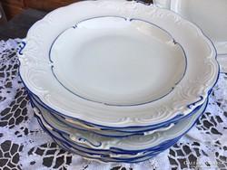 Kék-törtfehér mély és lapos tányér pár