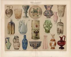 Üveg művészet, színes nyomat 1903, német nyelvű, litográfia, eredeti, velencei, asszír, kínai, ipar