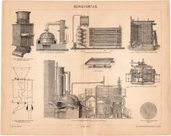 Sörgyártás (1), 1898, egyszín nyomat, eredeti, magyar nyelvű, sör, gyártó, kazán, hűtőkészülék, régi