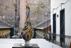 Nagyméretű színes retró váza