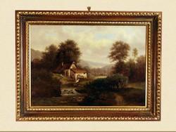 XIX. sz. Osztrák Tájkép Malom Vízimalom Antik Ökörszemes keretben Olajfestmény 82x62cm