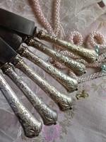 Antik ezüst nyelű kés készlet 6 db