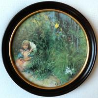 Porcelán kép/ Brita in the Flowerbed / Carl Larsson kollekció / limitált széria