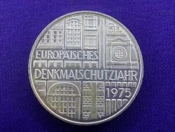 Nagyon szép ezüst Europäisches Denkmalschutzjahr emlék 5 márka 1975 F