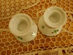 Hollóházi porcelán mini gyertyatartó párban