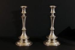 XIX.sz. Ezüst Gyertyatartó Pár 440g 26,5cm Osztrák Diana Fej Jel 800-as Vésett Növényi Motívumok