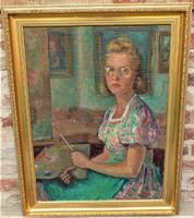 Kövesi ( Köves ) Albi  ( 1900- ? ) Önarckép 1944 olajfestménye 95x75cm Eredeti Garanciával !!!