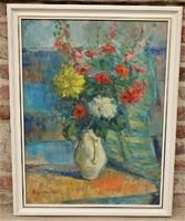 Kövesi ( Köves ) Albi ( 1900- ? ) Virágcsendélet c. olajfestménye 90x70cm Eredeti Garanciával !!!