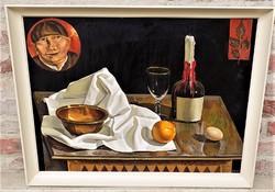 Záborszky Viola ( 1935-) Csendélet c. képcsarnokos olajfestménye 86x66 cm Eredeti Garanciával !!!