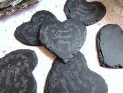 Fekete palakő szív forma poháralátét szett
