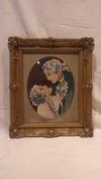Antik üvegezett blondel képkeret romantikus gobelinnel , falc 38x30 cm