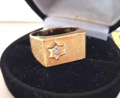Caprice 18K Judaika Arany Gyémánt Férfi gyűrű 9.34gr