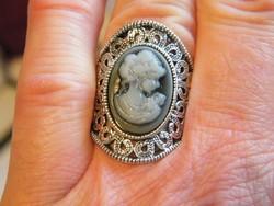 Ezüstözött Cameás gyűrű