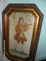 Antik  rokkokó hegedülő festett  selyem kép
