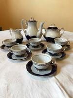 Gyönyörű Zsolnay Pompadour 6 személyes aranyozott, kézzel festett kávés készlet