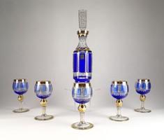0C053 Régi Bohemia üveg likőrös készlet