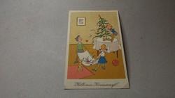 Régi karácsonyi képeslap vidám
