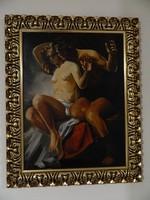 Olajfestmény a javából! egy férfi és egy nő freskó stílusú ábrázolása
