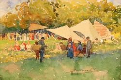Bakoss Tibor (1868-1950) Vasárnapi Népmulatság Debreceni Nagyerdei Részlet Akvarell Karton Majális