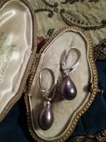 Ezüst foglalatban valódi gyöngy fülbevaló ag925