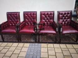 Gyönyörű chesterfield , antik burgundi színű bőr fotelek!