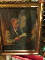 Olvasó öregúr - olaj festmény