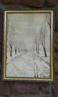 Rippl Rónai jelzéssel: Tájkép, akvarell, festmény, aranyos képkeret. Télen hazafelé