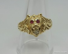 Vintage 14k  uniszex oroszlan fej gyuru gyment.rubin learazva