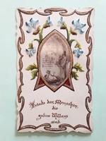 Régi medalionos kis csipkés szélű szentkép szecessziós vallási emléklap