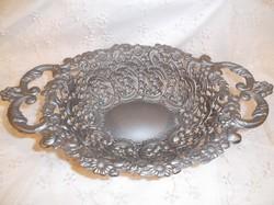 Tál - antik - öntvény - csipkehatású - gyönyörű - 34 x 21 x 8 cm