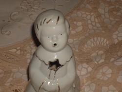 Porcelán angyalka mécsestartó. 15 cm.