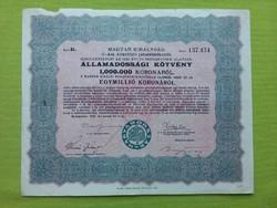 Államadóssági kötvény 1.000.000 koronáról 1925