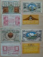 Szükségpénz 4 fajta Sopron 10,50 fillér,Esztergom 2 korona Központi Sajtóvállalat 20 fillér