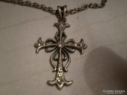 Kristályos antik kereszt nyaklánc