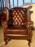 Gyönyörű chesterfield, Queen Anne ,eredeti Angol,valódi bőr fotel!