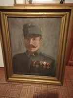 Monarchiás katona nagyméretű festménye